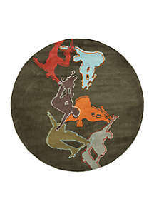 Lil Mo Hipster Skater Concrete Area Rug 5' Round
