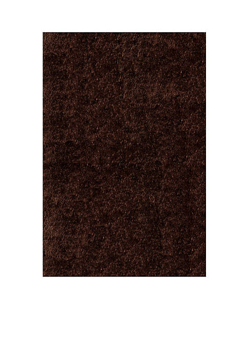 Luster Shag Solid Brown Area Rug 5 x 7