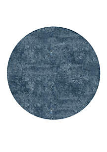 Luster Shag Solid Light Blue Area Rug 4' Round