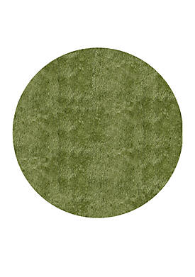 Luster Shag Solid Apple Green Area Rug 4 Round