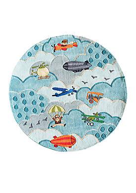 Lil Mo Aviator Blue Area Rug 5 Round