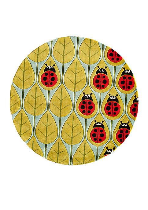 Lil Mo Lady Bug Green Round Area Rug 5