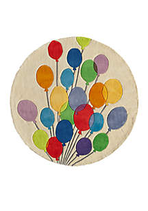 Lil Mo Balloons Beige Area Rug 5' Round