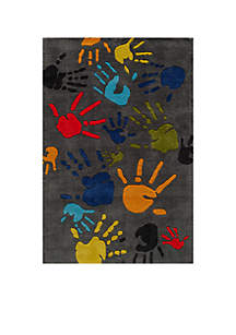 Lil Mo Finger Paint Charcoal Area Rug 3¿ x 2'