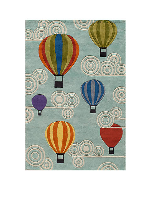 Lil Mo Hot Air Balloon Turquoise Area Rug 2 X 3