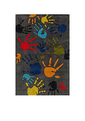 Lil Mo Finger Paint Charcoal Area Rug 5 x 3