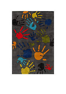 Lil Mo Finger Paint Charcoal Area Rug 5' x 3'