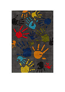Momeni Lil Mo Finger Paint Charcoal Area Rug 6' x 4'