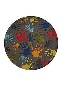 Momeni Lil Mo Finger Paint Charcoal Area Rug 5' Round