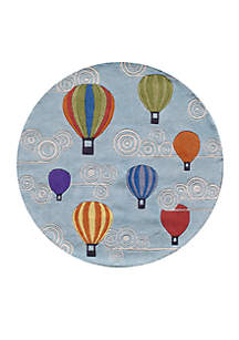 Lil Mo Hot Air Balloon Turquoise Area Rug 5' X 5'