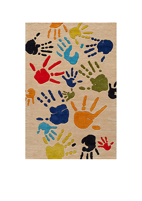 Lil Mo Finger Paint Ivory Area Rug 7 x 5