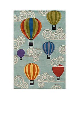Lil Mo Hot Air Balloon Turquoise Area Rug 5 x 7