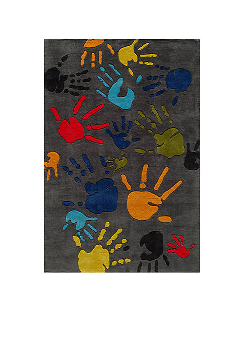 Lil Mo Finger Paint Charcoal Area Rug 10 x 8