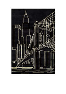 Lil Mo Hipster NYC Black Area Rug 3¿ x 2'