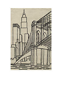 Lil Mo Hipster NYC Ivory Area Rug 3¿ x 2'