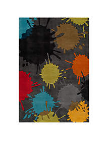 Lil Mo Hipster Paint Splash Gray Area Rug 3' x 5'