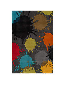Lil Mo Hipster Paint Splash Gray Area Rug 4' x 6'