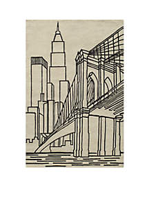 Lil Mo Hipster NYC Ivory Area Rug 6¿ x 4¿