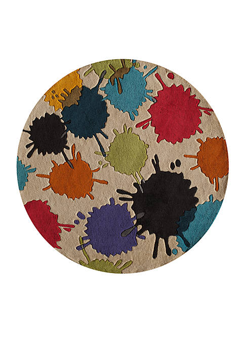 Lil Mo Hipster Paint Splash Ivory Area Rug 5 x 5