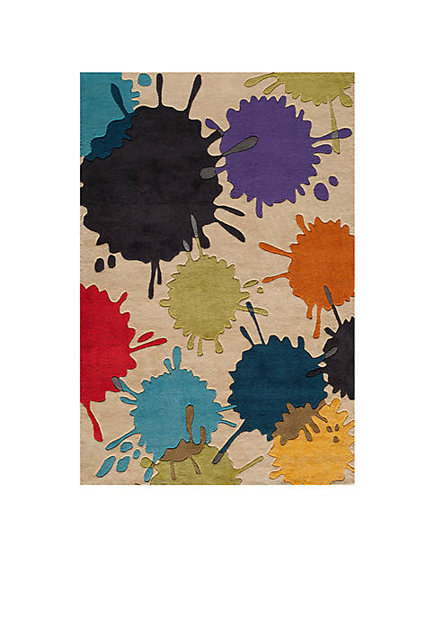 Lil Mo Hipster Paint Splash Ivory Area Rug 5 x 7