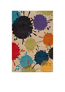 Lil Mo Hipster Paint Splash Ivory Area Rug 5' x 7'