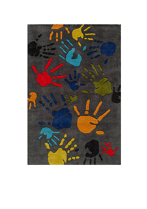 Lil Mo Hipster Paint Splash Gray Area Rug 5 x 7