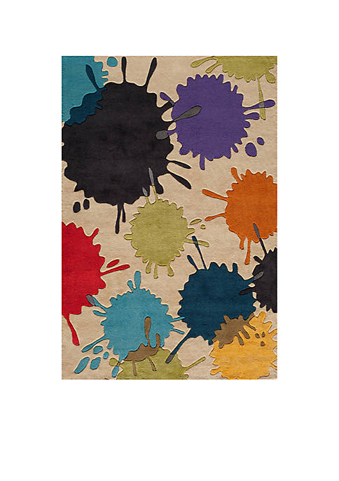 Lil Mo Hipster Paint Splash Ivory Area Rug 8 x 10