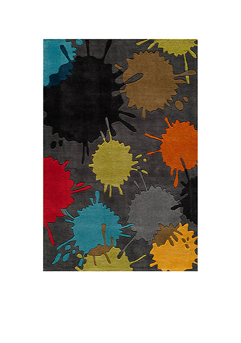 Lil Mo Hipster Paint Splash Gray Area Rug 8 X 10
