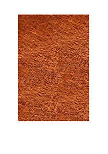 Luster Shag Solid Tangerine Area Rug 3' x 5'