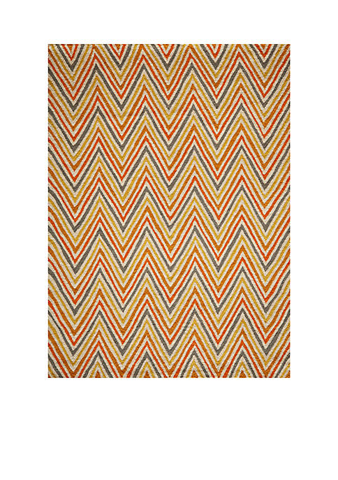 Geo Waves Orange Area Rug 2 x 3