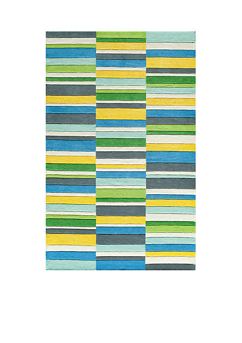 Momeni Delhi Rectangles Blue Area Rug 5 x