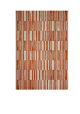 Delhi Stripes Orange Area Rug 5 x 8