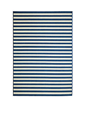 Baja Horizontal Stripes Navy Area Rug