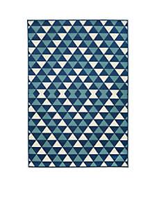 Baja Small Triangles Blue Area Rug 7'10 x 10'10\