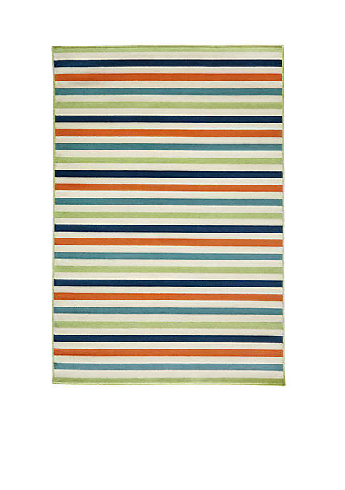 Momeni Baja Horizontal Stripes Multi Green Area Rug
