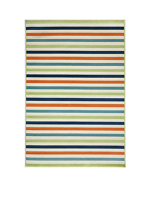 Momeni Baja Horizontal Stripes Multi Green Area Rug