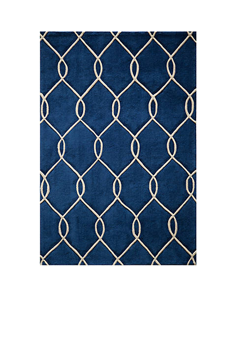 "Momeni Bliss Chain Navy Area Rug 23"" x"