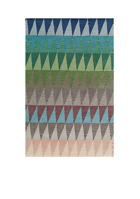 Momeni Delhi Triangles Multi Blue Area Rug 36""