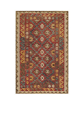 Tangier Checkerboard Red Rug 5 x 8