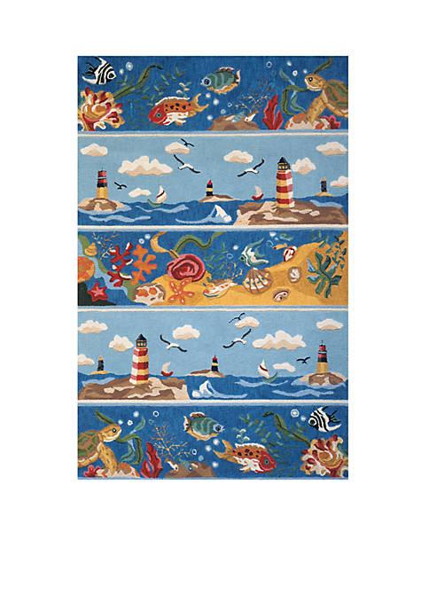 """Momeni Coastal Seascape Blue Area Rug 26"""" x"""