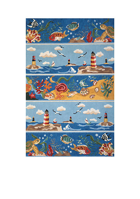 Momeni Coastal Seascape Blue Area Rug 3 x