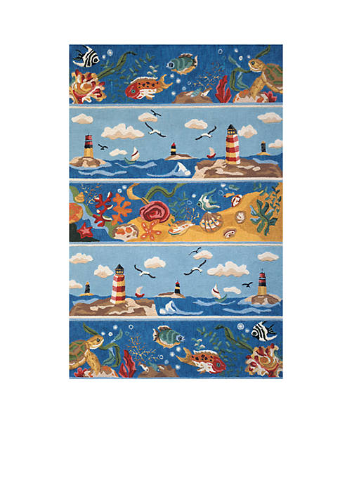 Momeni Coastal Seascape Blue Area Rug 5 x