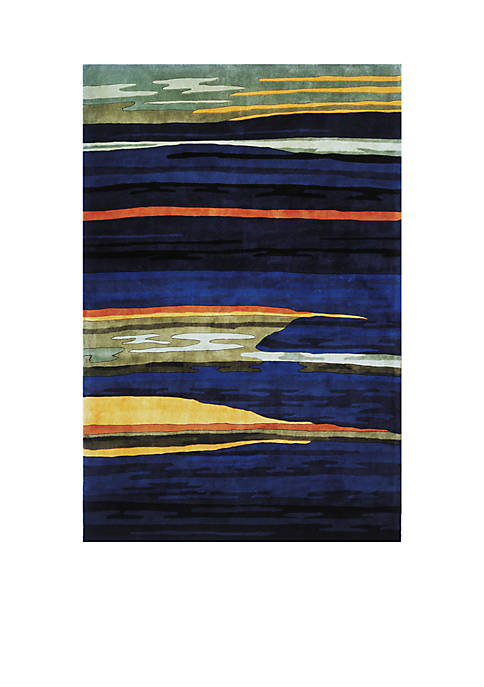 Momeni New Wave Landscape Gabbeh Navy Area Rug