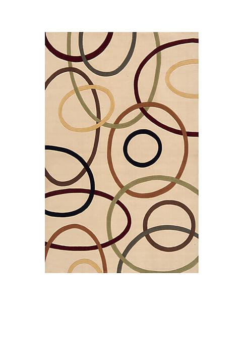Momeni Elements Ovals Ivory Area Rug 5 x