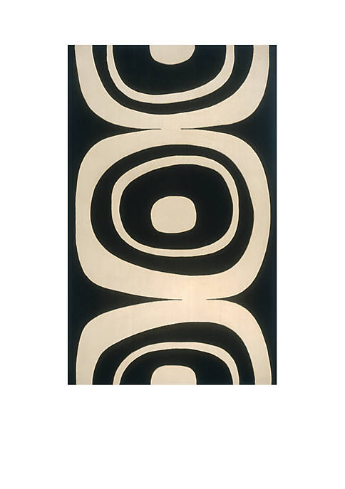 Momeni Elements Rings Black Area Rug 3 x