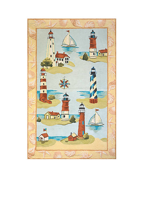 Coastal Lighthouses Multi Area Rug 2 x 3