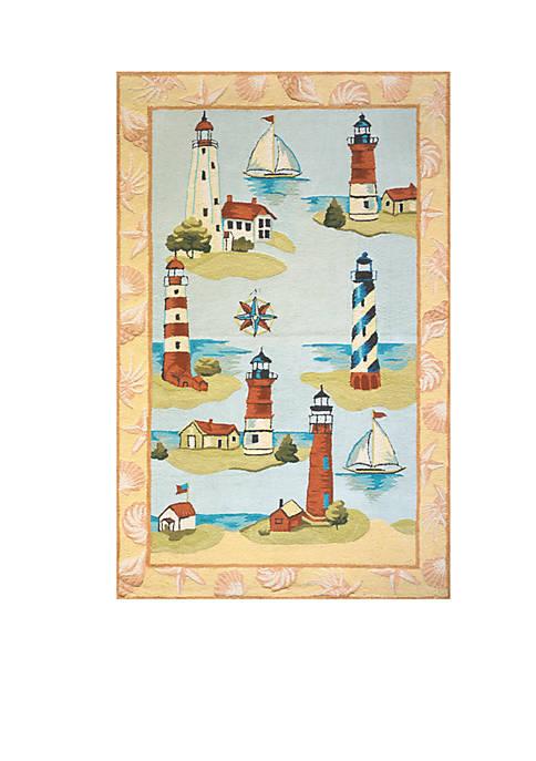Momeni Coastal Lighthouses Multi Area Rug 5 x