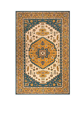 "Persian Garden Dune Teal Blue Area Rug 26"" x 8"