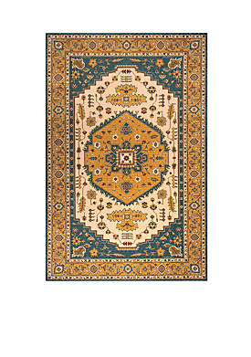 Persian Garden Dune Teal Blue Area Rug 5 x 8