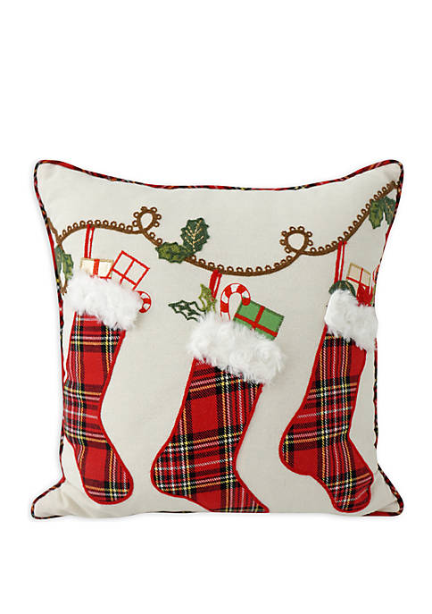 Holiday Stockings Throw Pillow